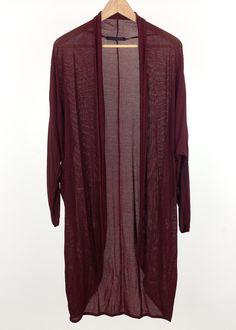 Black longline chiffon cardigan-kimono | Chiffon cardigan ...