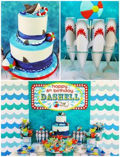 Wet n Wild Shark themed birthday party via Kara's Party Ideas KarasPartyIdeas.com Cake, printables, invitation, favors, cupcakes, supplies, and more! #sharkparty #sharkcake (2)