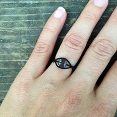 Black Bass Guitar String Ring with Black Diamond Crystal by LuckyStrings