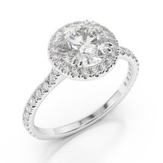 Diamond Engagement Rings Round Halo Flush With Band 17