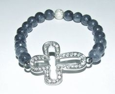 "Women's 8MM Gray Tourmaline Crystal Cross Stretch Bracelet 7.50"" #290"