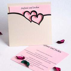 Ich liebe Dich Zwei Herzen Creme Schlichte Süß Einladungen zur Hochzeit