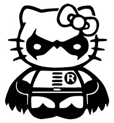 black and white super hero hello kitty - Google Search