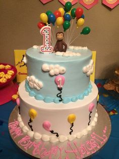 Curious george cake for girl fun recent cake projects for Curious george cake template