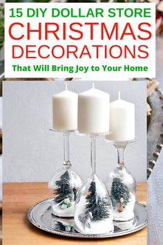 15 Best DIY dollar store Christmas decorations that are so magical. Ultimate 15 cheap and easy DIY dollar store Christmas decorations bring joy to your home Dollar Tree Christmas, Christmas Snow Globes, Xmas, Christmas Candle Holders, Christmas Mason Jars, Christmas Decorations Diy For Kids, Tree Decorations, Christmas Crafts, Diy On A Budget