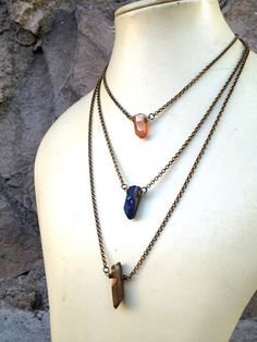 Titanium Crystal Point Necklace on Bronze Rolo Chain by CombustionGlassworks, $26.50