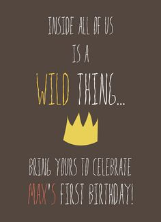 Wild Things Birthday invitations. $15 for digital file