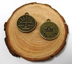2pcs Bronze vintage style Zodian Sign Libra pendant by eSupply, $0.99