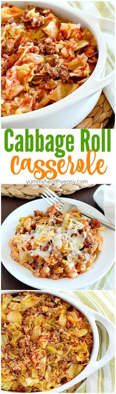 Cabbage Roll Casserole is much easier than making traditional cabbage rolls! This yummy casserole is slowly baked and full of ground beef, rice and cabbage in a light tomato sauce. Hearty, simple to make and delicious! (Baking Cauliflower Rice)