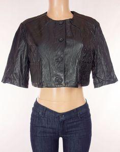 CARLOPIK DIDIER PARAKIAN New Leather Crop Jacket Size 42 M Medium Black NWT #Carlopik #BasicJacket