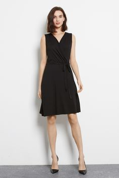 Dresses | Black WRAP DETAIL DRESS | Warehouse