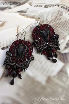 Unique, artistic soutache earrings. The only one copy.    (I can do it in a different color on your request)    Jewelry soutache parts was impregnated