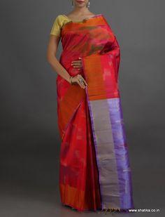 Radha Ravishing Red Lustrous Pure #IkatSilkSaree