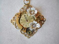 Victorian Steampunk Necklace Gold and Flowers