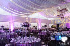 Hermosa decoración de @Villa_Danieli, montaje morado, rosa y azul, con pista redonda