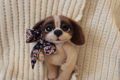 Купить Авторская валяная игрушка из шерсти Татошка - бежевый, щеночек, Сухое…