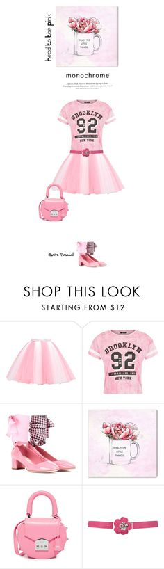 """""""Color Me Pretty: Head-to-Toe Pink 04.05.17"""" by maitepascual ❤ liked on Polyvore featuring Miu Miu, Oliver Gal Artist Co., H&M, SALAR and monochromepink"""