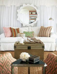 Great mirror and fabrics