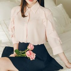 Feel like going for a #girly #ootd? We have something for you at our #KoreanFashion Sale! Up to 70% off and you could save an extra 10% off with your exclusive coupon on top on your 1st purchase by signing up at www.yesstyle.com. Attrangs Frill-Trim Chiffon #Blouse http://yesstyle.com/p1045265382 #YesStyle #Fashion #pink #cute