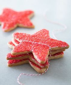 STARRY SUGAR COOKIE To get this holiday season started on a bright note, try these sugar cookies cut into star shapes. For extra holiday sparkle, we dipped them in red sanding sugar. Holiday Cookie Recipes, Cookie Desserts, Holiday Baking, Cupcake Cookies, Christmas Baking, Sugar Cookies, Baking Cookies, Easy Desserts, Christmas Time
