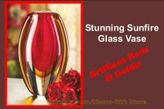 Sunfire Glass Flower Vase Red Gold Orange Floral Decorative Vases http://stores.ebay.com/Slems-Gift-Store or order directly from me at dslem3@yahoo.com for 20% off anything in the store!