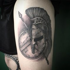Spartan Helmet, Shield, and Spear Tattoo | Venice Tattoo Art Designs