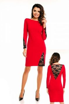 #Awama Red & Black Lace Trim Long Sleeve #Dress. #Fashionhub #Fashion #Dress #Fashionstyle #Style Add Heels & Accessories to this Chic Awama Red & Black Lace Trim Long Sleeve Dress from fashionhub.co.za by Awama. Featuring a bold Red colouring, Black lace trim on the sleeves and hem, long sleeves,  a body hugging shape with an above the knee length.  Made In Europe.