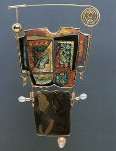 William Harper   ROBE II    1981 gold an silver cloisonné' enamel on copper; 14 and 24 kt gold; sterling silver; bronze; pearls