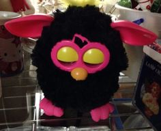 Furby Boom, Black with Hot Pink Feet/Ears & Yellow Hair Tuft Electronic #Furby