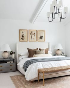 Decided to contrast the moody living room at our with this light master bedroom. Not mad about it. Farmhouse Bedroom Decor, Home Decor Bedroom, Diy Bedroom, Couple Bedroom Decor, Neutral Bedroom Decor, Bedroom With Couch, Queen Bedroom, Bed Room, Design Bedroom