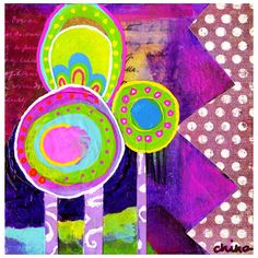 Bright Colorful Whimsical Teen or Child's Room Abstract 1960's Purple... ($22) ❤ liked on Polyvore