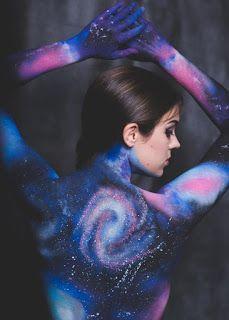 Galaxy Body Paint by Jillian Elizabeth free hand using kryolan aqua colour http://www.cosmetiquescotland.co.uk