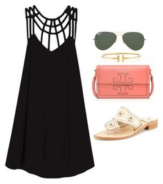 """black strappy dress"" by kcunningham1 ❤ liked on Polyvore featuring RVCA, Tory Burch, Jack Rogers, Tiffany & Co. and Ray-Ban"