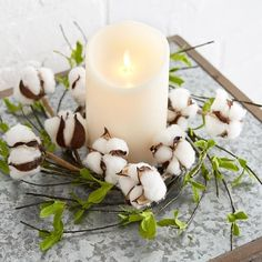 Spring Cotton Candle Ring