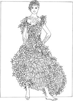 Welcome To Dover Publications Creative Haven Flower Fashion Fantasies Coloring Book Artwork By Ming Ju Sun