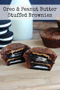 Oreo and Peanut Butter Stuffed Brownies Recipe #dessert #brownies