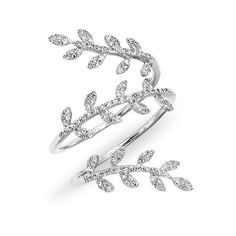 14kt white gold diamond vine wrap ring ($1,359) ❤ liked on Polyvore featuring jewelry, rings, diamond wrap ring, flower rings, bride jewelry, wrap rings and bridal jewellery