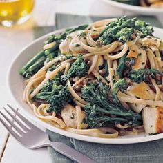 Broccolini, the vegetable in this chicken recipe, is a cross between broccoli and kale and has a peppery, slightly sweet taste. The slender stalks topped with tiny florets mix beautifully with the strands of whole wheat pasta.