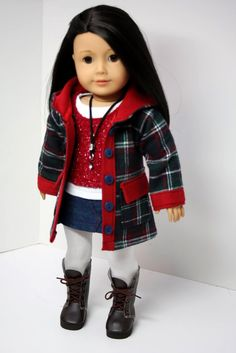 American Girl Doll Clothes- Plaid Hooded Jacket, Mini Skirt, Tank, Shirt, Necklace & Tights