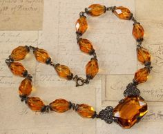 VTG Antique Art Deco Topaz Amber Colored Czech Glass Filigree Collar Necklace