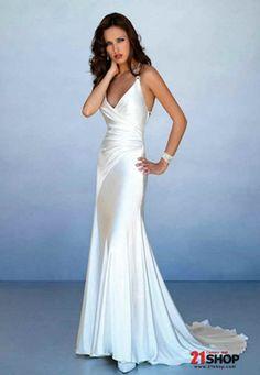 Satin V-neck Sheath Silhouette Wedding Dress Style #20479166 21shop.com
