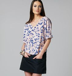 V1247 - Very loose fitting top.  Fabrics - crepe de chine, charmeuse, & lightweight linen