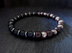 black onyx oxidized sterling and copper tiger kamagong wood Surfer Bracelets, Bracelets For Men, Beaded Bracelets, Black Onyx, Stretch Bracelets, Horn, Bones, Copper, Gemstones