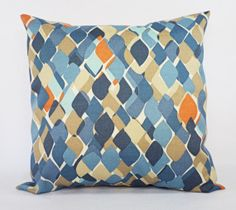 Indoor Outdoor Pillows - Two Blue and Taupe Pillow Covers - 20 x 20 Inch - Couch Throw Pillow Cushion Cover Blue Taupe Orange Pillow Cover. Jumping-off point for my basement.