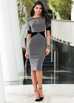 """Grey & Black (GYBK) Two Tone Sheath $39  Two is always better than one. · Sizes: 2 - 14   · Invisible back zip   · 27"""" in length from natural waist   · Poly/Viscose/elastane. Imported  · Style #Z49709"""