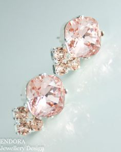 Crystal earrings, Blush pink crystal earrings http://ift.tt/11NKM6t