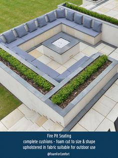 Foam cushions created for this bespoke Fire Pit Seating area. Foam cushions created for this bespoke Fire Pit Seating area. Foam cut to size & - Fire Pit Seating, Fire Pit Area, Backyard Seating, Backyard Patio Designs, Outdoor Seating Areas, Fire Pit Backyard, Backyard Landscaping, Backyard Ideas, Fire Pit Table
