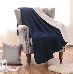 "Luxury Oversized Reversible Fuzzy Sherpa Throw Blanket, Soft and Cozy- 50"" x 70"" (Dark Blue) by Exclusivo Mezcla"