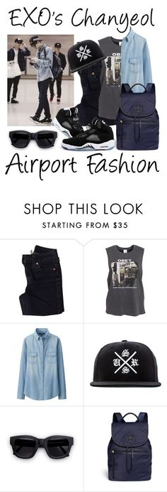 EXO's Chanyeol ~ Airport Fashion || KPop by banana-lee on Polyvore featuring OBEY Clothing, Uniqlo, True Religion, Tory Burch, Acne Studios and SSUR