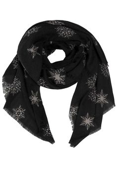 Oversized scarf in black with beautiful pattern og grey snow flakes. Easy to wear and style as scarf or stole. Size: 100 x 200 cmMaterial: woolColour: Black and greyCare: Hand wash Oversized Scarf, Danish Design, Beautiful Patterns, Alexander Mcqueen Scarf, Snowflakes, Scarves, Wool, How To Wear, Shopping